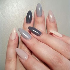 Elegant gel nails,shades of natural and gray.