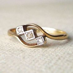 Edwardian Geometric Diamond Trilogy Ring Antique by luxedeluxe, $285.00
