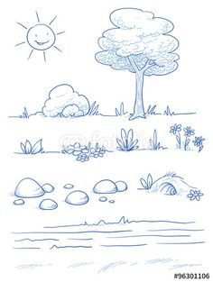 Set of landscape and nature background parts: tree, bush, stones, hills, grass, leaves and flowers. Hand drawn vector illustration.