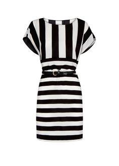 MANGO - Vestido rayas cinturón trenzado