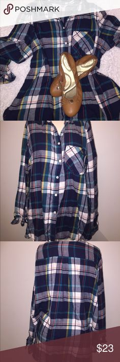 Old navy plaid shirt Condition: Preowned, no holes or stains. Normal Wear from washing and wearing.   Color: blue orange white yellow and turquoise    Measurements:   Materials:100% cotton    Suggested Styling tips: pair with jeans or wear to work with skirt. Old Navy Tops Button Down Shirts