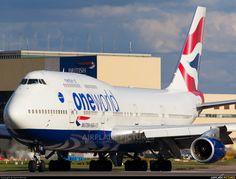"British Airways Boeing 747-436 ""OneWorld Alliance LogoJet"" (registered G-CIVC) taxiing at London-Heathrow"