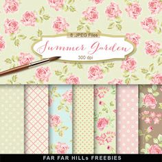 New Freebies Kit of Backgrounds - Summer Garden