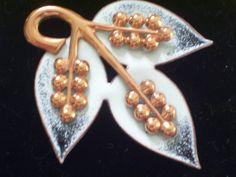 Vintage RAME Black & White Enamel Copper Leaf Pin by TheCopperCat, $30.00