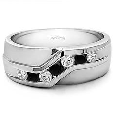 Two Birch 10k White Gold Black and White Cubic Zirconia Men's Wedding Fashion Ring (10k Yellow gold, Size 13)