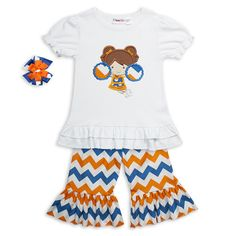 Team spirit for the whole family at Lolly Wolly Doodle.  Blue Orange Chevron Ruffle Capri Set $29.00.  Made to Order!