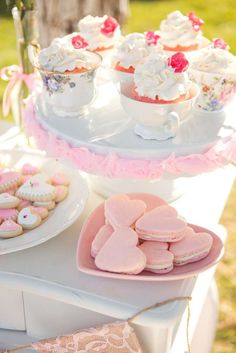 Gorgeous cupcakes and cookies at a Valentine's Day tea party! See more party planning ideas at CatchMyParty.com!