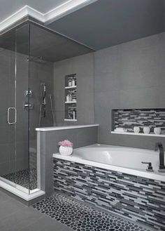 Every bathroom remodel starts with a design suggestion. From full master bathroom renovations, smaller sized visitor bath remodels, and bathroom remodels of all dimensions. Grey Bathrooms, Bathroom Renos, Bathroom Renovations, Bathroom Interior, Home Remodeling, Bathroom Ideas, Luxury Bathrooms, Bathroom Designs, Bathroom Makeovers