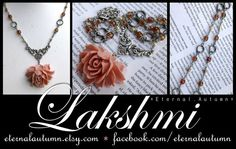 L a k s h m i handmade necklace featuring imported pink Lotus flower pendant - by EternalAutumn, $40.00