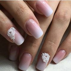 Ombre White Nail Art. A gradient nail art embossed with white flowers is definitely an  inspiration for your formal days.