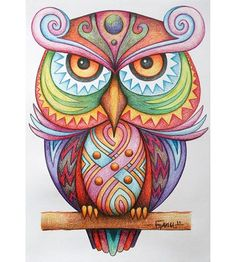 """Knowing yourself is the beginning of all wisdom."" ― Aristotle The Vigilant by Jose-Garel-Alvoeiro Owl Wal Art, Doodles, Art Plastique, Bird Art, Doodle Art, Owl Doodle, Painted Rocks, Hand Painted, Colored Pencils"