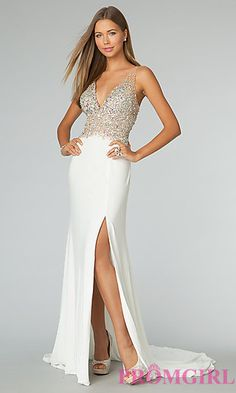 Sleeveless White Gown with Open Back JVN by Jovani at PromGirl.com