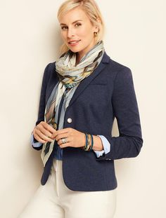 Ponte Knit Blazer - Indigo Blue Heathered | Talbots - SB Sep 2017