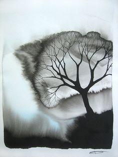 Black and white tree Abstract Watercolor Art, Ink Painting, Watercolor And Ink, Watercolor Illustration, Watercolor Paintings, Alcohol Ink Art, Art Journal Inspiration, Design Inspiration, Art Design