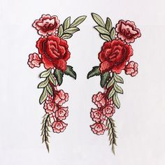 A Pair Embroidered Red Flower Applique PatchVintage by DIYsharing