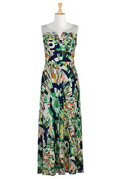 Graphic radiating print georgette maxi dress