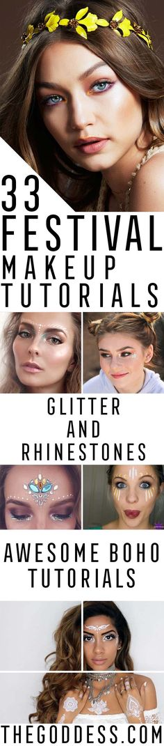 Festival Makeup Tutorials - articlespecifictitle - Awesome Glitter and Rhinestone Make Up Ideas for the Next Rave or Summer Music Festival - Awesome Tribal and Bohemian Looks For Summer Plus a Great Gold Boho Tutorial for the Next EDM Show - thegoddess.com/festival-makeup-tutorials
