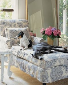 I Love This Blue White Chaise Lounge
