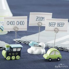 Tiny trains, airplanes and cars are delightful touches to each place setting. They're perfect for a birthday party or Precious Cargo baby shower! Transportation Place Card Holders   @kateaspen