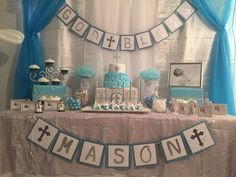 Boy baptism cake table Christening Table Decorations, Christening Party Favors, First Communion Decorations, First Communion Party, Baptism Centerpieces, Baby Boy Baptism, Boy Christening, Baptism Invitation For Boys, Cake Table