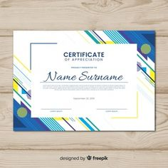 Creative certificate template with abstract shapes Free Vector Certificate Layout, Graduation Certificate Template, Certificate Background, Certificate Of Achievement Template, Certificate Design Template, Award Template, Certificate Frames, Powerpoint Background Design, Background Design Vector