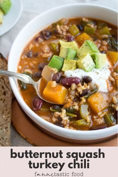 This turkey chili recipe with butternut squash is a perfectly comforting fall meal! It's a hearty soup recipe that's packed with nutrition and flavor. It freezes well, too, if you want to save some for later! #turkeychili #butternutsquash #fallrecipes #chili