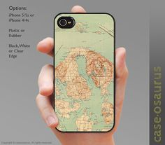 Vintage San Juan Islands Map iPhone Case for iPhone by caseosaurus