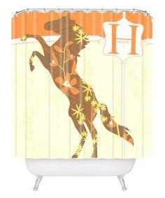 Burnt Orange Horse 'H' Shower Curtain #zulily #zulilyfinds