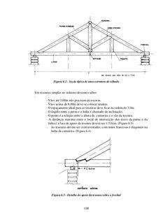 108 Figura 6.2 - Seção típica de uma estrutura de telhado Em tesouras simples no mínimo devemos saber: : - Vãos até 3,00m ... Gaston Bachelard, Roof Structure, Civil Engineering, Sandro, Woodworking, Porch Roof, Steel Frame, Factory Design, Perforated Metal