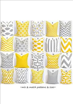 Gray.Yellow Pillows.ALL SIZES.Decorative Pillow Covers.Home Decor.Housewares.Grey.Yellow.Pillows..Cushions.Home Decor.Large.Small Pillows