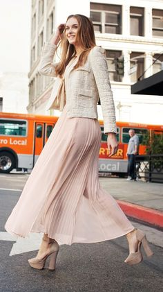 Blush skirt, box jacket very sweet