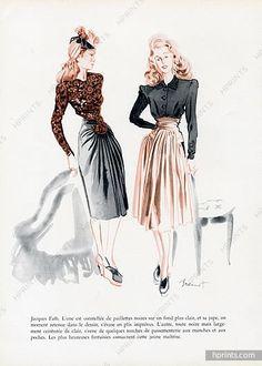 Raymond Brénot 1943 Jacques Fath, Skirts, Fashion Illustration