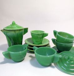 Lot of Akro Agate Children's Dishes and Alley Agate Chiquita Toy Tea Set, Green Slag Glass, Jadeite Glass by MinniesFlea on Etsy