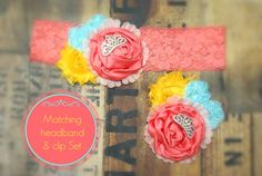 Coral light aqua & yellow matching by AdoraBowsByLeilaHale on Etsy, $13.00