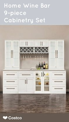 A beautiful addition to your home, the Home Wine Bar 9-piece Cabinetry Set by NewAge Products is great for entertainment. Host a spring or summer party in style!