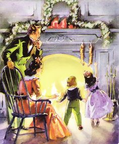 Family at Christmas fireside. Beautiful Christmas Cards, Vintage Christmas Images, Victorian Christmas, Retro Christmas, Vintage Holiday, Christmas Pictures, Vintage Greeting Cards, Christmas Greeting Cards, Christmas Greetings