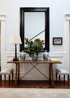 Beautiful Entries, Entryway, Foyer. Love the Mirror, Table & 2 upholstered small benches. & acessories. Great Design by   Ruthie Sommers