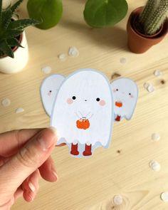 Kawaii Halloween, Halloween Treats, Stickers Kawaii, Cute Stickers, Printable Stickers, Cute Christmas Tree, Christmas Gift Tags, Vinyl Sticker Paper, Sticker Shop
