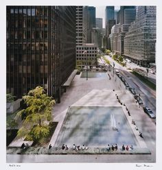 Richard Pare, photographer. Plaza panorama of the Seagram Building, looking south from the first setback of 399 Park Avenue, New York. 15 aril 2010. (Canadian Centre for Architecture)