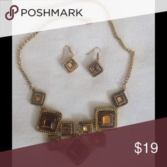 Statement necklace and earrings Gold tone necklace set Jewelry Necklaces