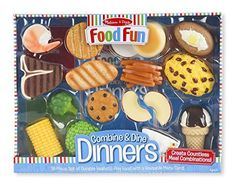 Melissa & Doug Food Fun Combine & Dine Dinners (Play Food Set, Great Gift for Girls and Boys - Best for 5 Year Olds and Up) Play Food Set, Pretend Food, Pretend Play, Pretend Kitchen, Toy Kitchen, Play Doh, Wooden Play Food, Balanced Meals, Burger Buns