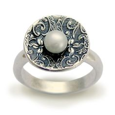 Sterling silver filigree ring inlaid fresh water by silvercrush,