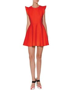 Sleeveless Ruffle-Trim Ponte Fit-and-Flare Dress, Red