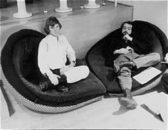 Malcolm McDowell and director Stanley Kubrick on the set of A Clockwork Orange (1971).