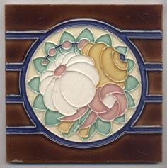 Super rare Desvres  Blütenball  Jugendstil  Fliese  art nouveau  srt deco tile