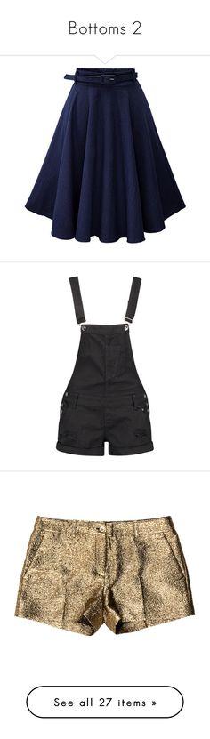"""Bottoms 2"" by violenceinsilence ❤ liked on Polyvore featuring skirts, blue skirt, a-line skirt, a line denim skirt, high-waist skirt, denim circle skirt, shorts, overalls, bottoms and rompers"