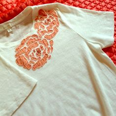 J.Crew embellished T 100% cotton off-white t-shirt (shown in last image next to white tissue paper to compare) peachy patchwork flower design, soft comfortable shirt! J. Crew Tops Tees - Short Sleeve