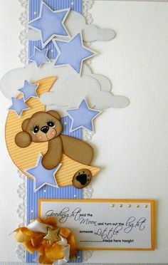 Goodnight said the Moon-this card would be a great scrapbook page w/picture of child in PJ's Baby Scrapbook Pages, Scrapbook Borders, Baby Boy Scrapbook, Scrapbook Cards, Baby Boy Cards, Baby Shower Cards, Baby Motiv, Marianne Design, Kids Cards
