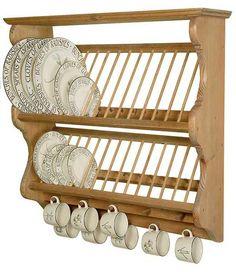 20 Wooden Small Dish Rack Design Ideas To Add To Your Kitchen - Until Dress Kitchen Rack, Kitchen Shelves, Kitchen Items, Diy Kitchen, Kitchen Storage, Kitchen Decor, Kitchen Design, Plate Racks, Dish Racks