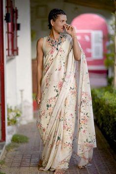 Organic and Ethical Sarees by shop kaito, Indian Handloom Sarees with Border, Linen Sarees with Border, Botanical print Sarees #ClassySarees
